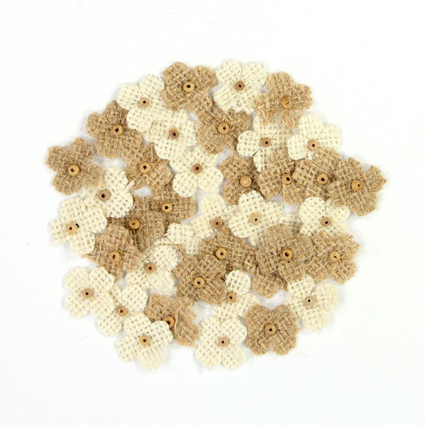 Burlap Mini Beaded Petites - Natural and Cream, 40pcs