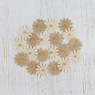 Handmade Burlap Mini Beaded Daisies Natural & Cream 20pcs