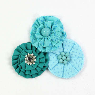 Printed Fabric Flowers Teal 3pcs