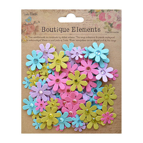 Handmade Flower Jewelled Florettes - French Carnival, 80pcs