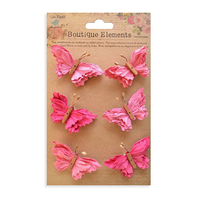 Self adhesive Stickers - Beaded Butterflies, Strawberry Fields, 6pcs