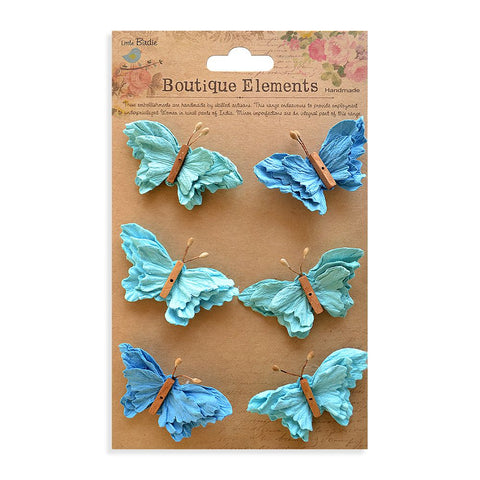 Beaded Butterflies Ocean Spray 6pcs