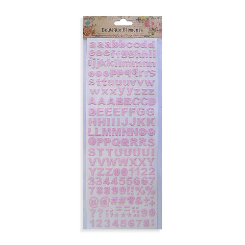Glitter Alphabets & Numbers, Carnation Pink, 172pcs