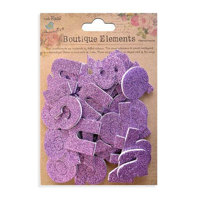 3D Glitter Alpha Stickers - Lower Case, Grape Crush, 43pcs