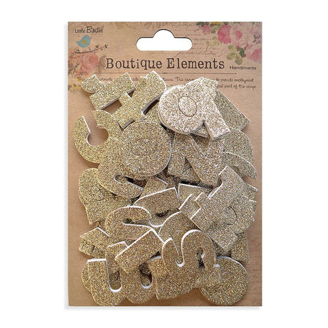 3D Glitter Alpha Stickers - Lower Case, Shabby Chic, 43pcs