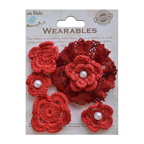 Crochet Daisies Cherry Red 5pcs
