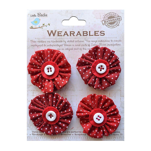Pleated Fabric Minis Cherry Red 4pcs