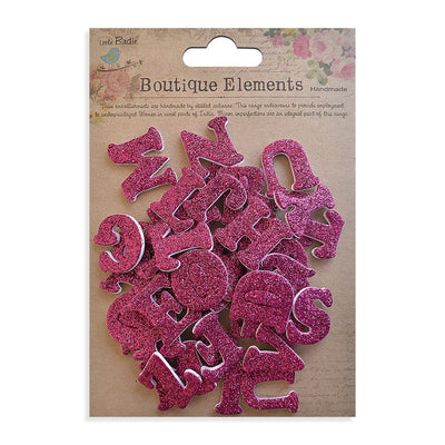 3D Glitter Alpha Stickers - Upper Case, Strawberry Fields, 42pcs