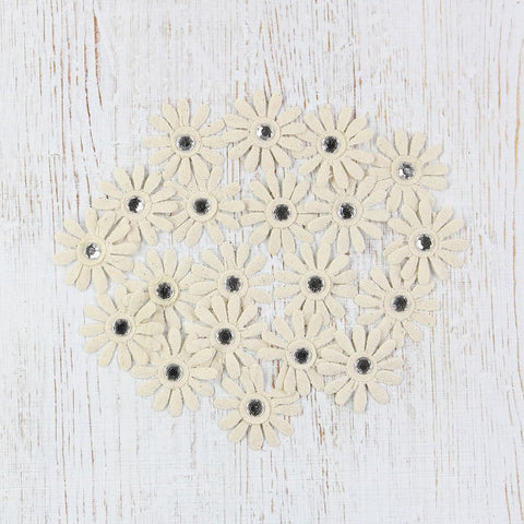 Canvas Jewelled Daisies - Natural, 20pcs