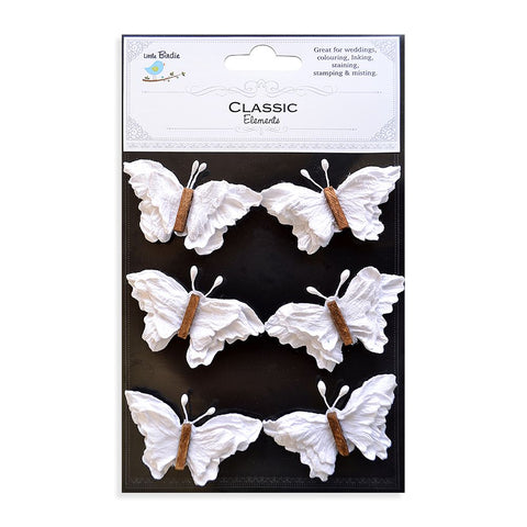 Beaded Butterflies Classic White 6pcs