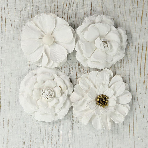 Handmade Flower Camden Cottage - Classic White, 4pcs