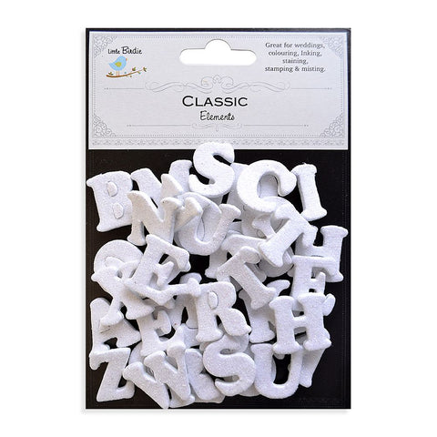 3D Glitter Alphabets Stickers Small Classic White 42pcs