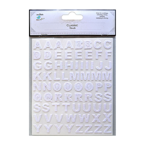 Glitter Alphabets Stickers Sheets Classic White 2 Sheets 146pcs