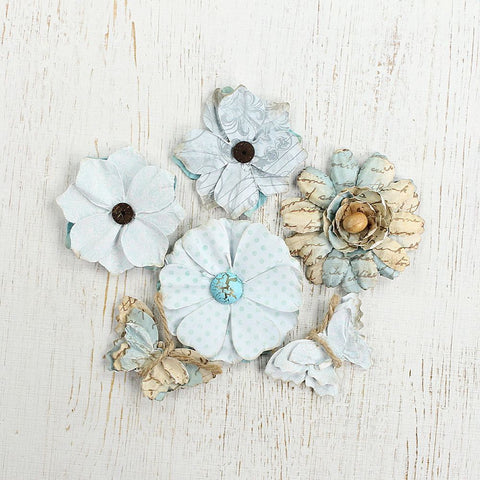 Printed Paris Petals - Blue, 6pcs