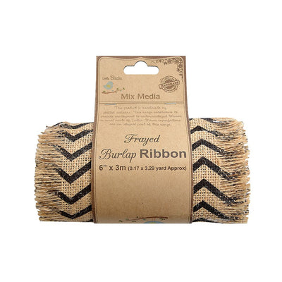 Chevron Printed Burlap Ribbon Roll- 6in x 3mt