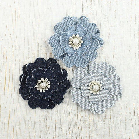 Denim Ash Flowers, 3pcs