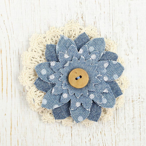 Denim Lece Daisy Stone Wash, 1pcs