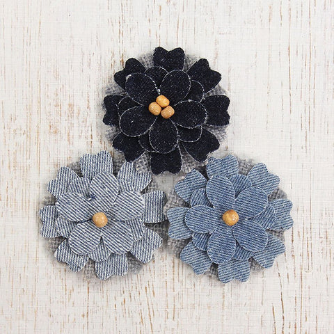 Denim Posies 3pcs