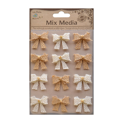 Burlap Beaded Bows Natural & Cream 12Pc PBCI Little Birdie