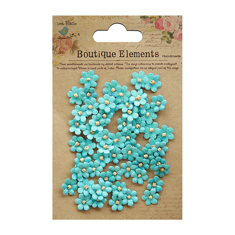 Beaded Micro Petals - Blue, 60pcs