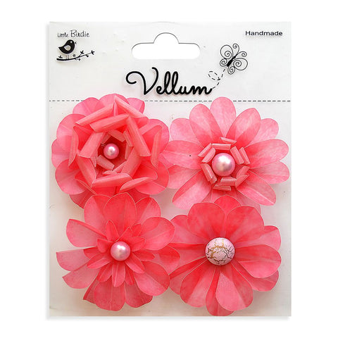 Handmade Flower Vellum Camden Cottage - Misty Rose, 4pcs