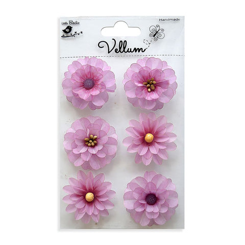 Handmade Flower Vellum Boutique Flowers Lilac 6pcs