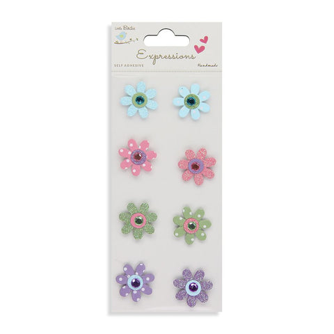 Printed Jewelled Flowers Party 8pcs