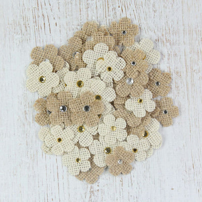 Handmade Burlap Jewelled Flowers- Natural & Cream, 50pcs