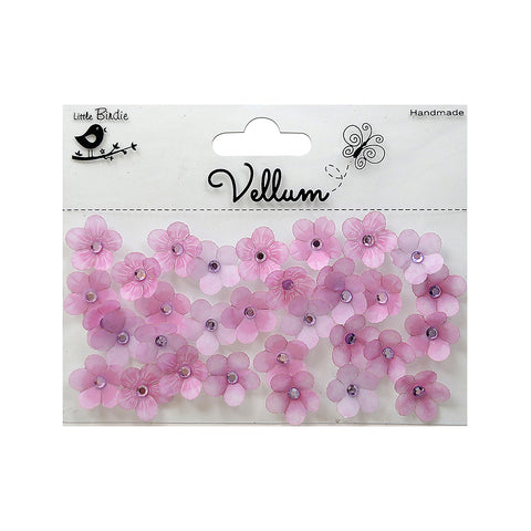 Handmade Flower Vellum Jewelled Florettes - Purple, 32pcs