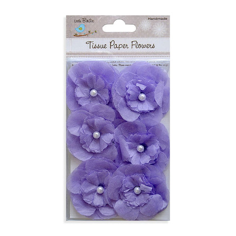 Handmade Flower Tissue Pearl Petals Purple 6pcs