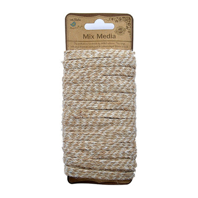 Flat Jute Yarn - 13ply, Natural and Cotton, 10mt