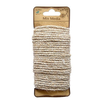 Round Jute Yarn - 13ply, Natural and Cotton, 10mt
