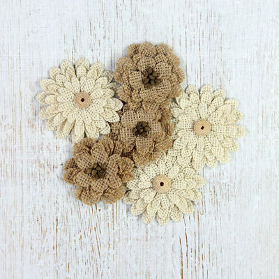 Handmade Burlap Fabric Blooms 6pcs