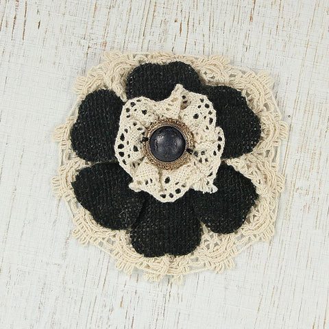 Handmade Burlap Lace Flower- Black, 1pc