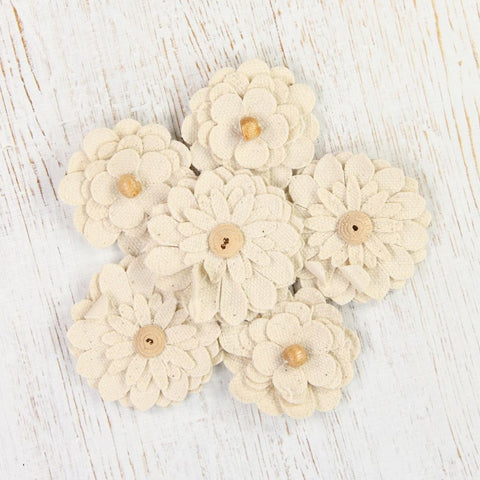 Canvas Beaded Daisies - Cream,  6pcs