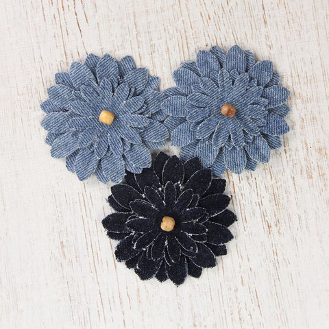 Denim Beaded Sun Flowers, 3pcs