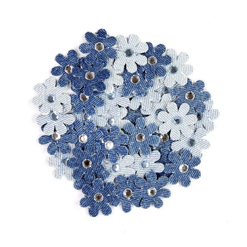 Denim Jewelled Flower 40pcs
