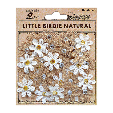 Burlap Jewelled Florettes Natural & Cream 40Pc PBCI Little Birdie