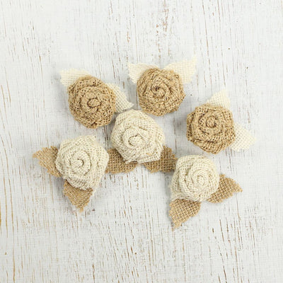 Burlap Mini Roses With Leaves Natural & Cream 6pcs