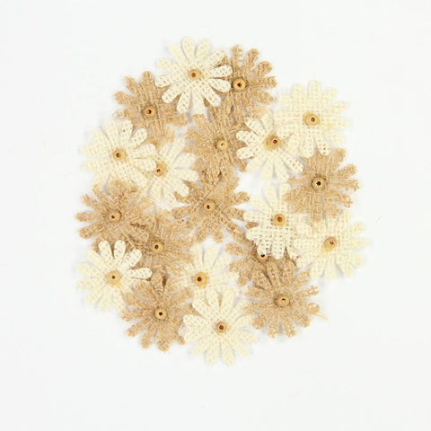 Burlap Mini Beaded Daisies - Natural and Cream, 20pcs