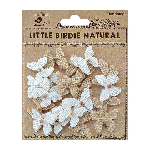 Burlap Mini Beaded Butterflies Natural & Cream 20Pc PBCI Little Birdie