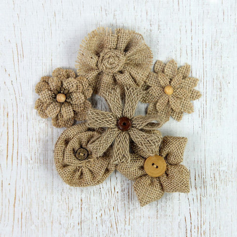 Handmade Burlap Assorted Design Flowers- Natural, 6pcs