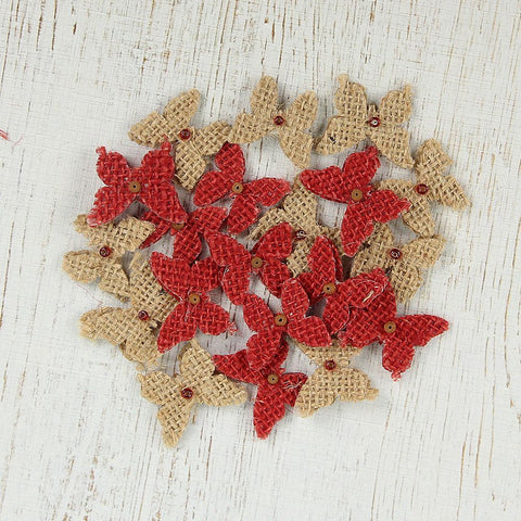 Christmas Burlap Beaded Butterflies - Natural and Red, 20pcs