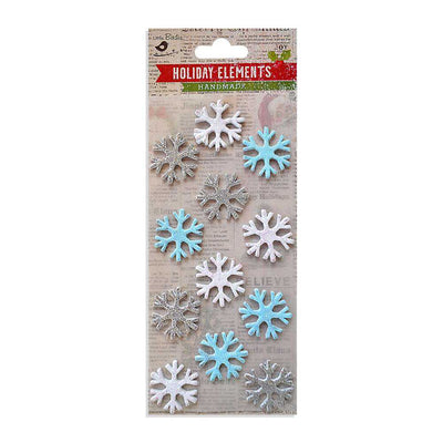 Self-adhesive Stickers - Christmas 3D Glitter Snowflakes , 12pcs