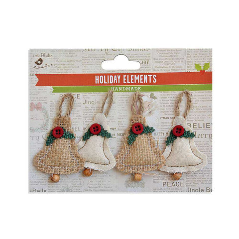 Christmas Burlap & Canvas Puffy Beaded Bell Natural 4pcs