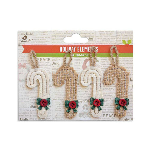 Christmas Burlap & Canvas Puffy Candy & Canes Natural 4pcs