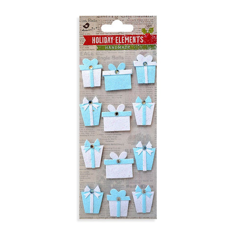Christmas 3D Mini Glitter Presents EmbellishmentsIce Blue 12pcs