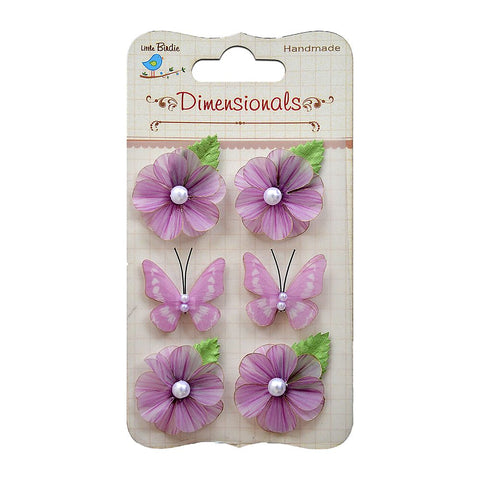 Handmade Flower Vellum Bloom with Butterflies Purple 6pcs