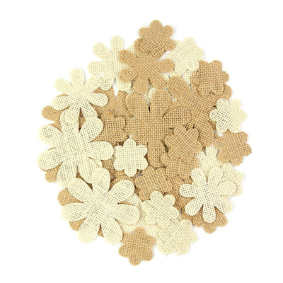 Handmade Burlap Blooms & Flutters Natural & Cream, 40pcs