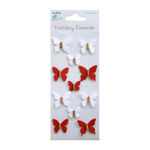 Beaded Mini Butterflies Red & White 11pcs